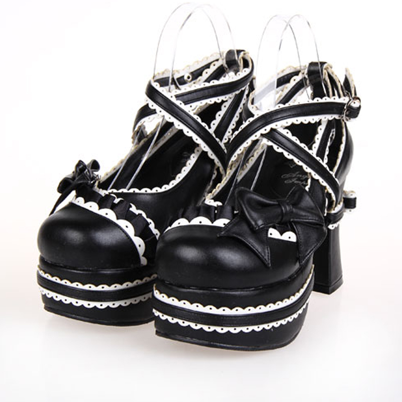 Custom Color Super High Heel Gothic Lolita Cosplay Shoes Lace Trim Criss Cross Chunky Heel Platform