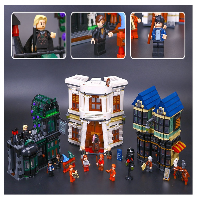 Lepin 16012 Diagon Alley building bricks blocks Toys for children boys Game Model Car Gift Compatible with Bela Decool 10217 lepin 22001 imperial flagship building bricks blocks toys for children boys game model car gift compatible with bela decool10210