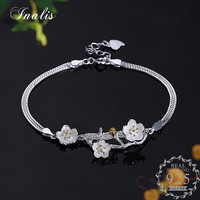 INALIS 925 Sterling Silver Flower Bracelet With Tree Branches For Women Bangles Fine Jewelry Romantic Gift