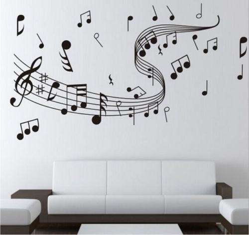 Musical Note Sitting Room Decorations Drop Shipping Living Bedroom TV Mural Wall Stickers Background Embossed Wallpaper