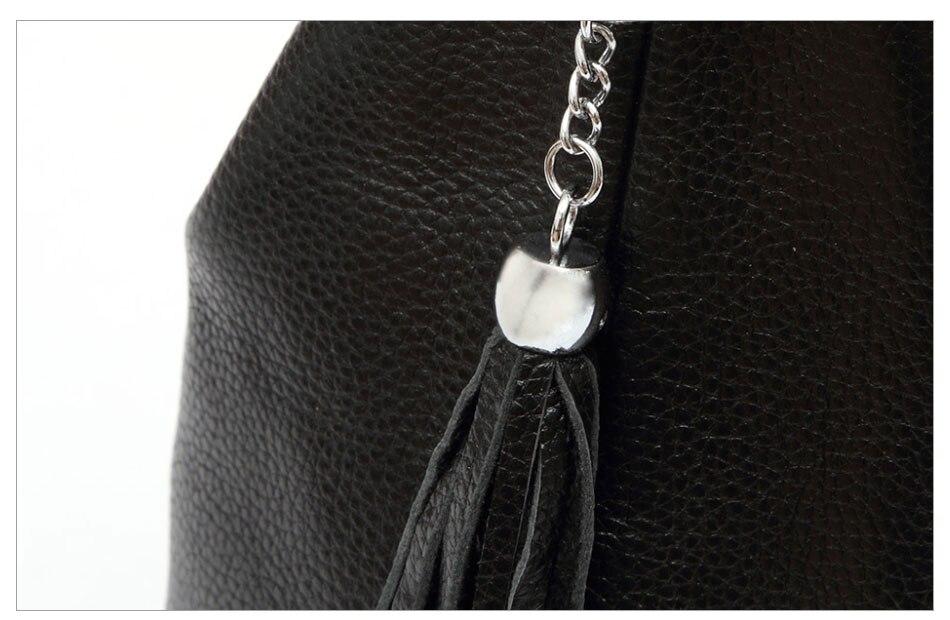 couro genuíno moda feminina mensageiro bolsa borlas