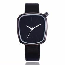High Quality Women Special Square Pebble Leather Dress Strap Minimalist Quartz Casual Black White 30M Waterproof Wrist Watch