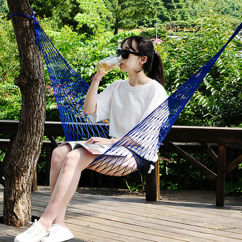 Portable Garden Nylon Hammock SwingHang Mesh Net Sleeping Bed Hamaca For Outdoor Travel Camping Hamak Blue Green Red Hamac
