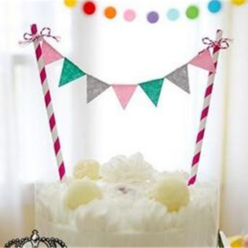 Rainbow Mini Flags Cake Topper Set Garland Inserted Card Bunting Set For Kids Baby Happy Birthday Party Decoration