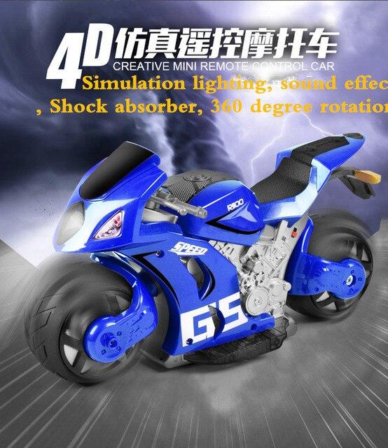 4D RC Мотоцикл A8 Вспышка Света Красный Синий зеленый Цвет Тяжести индукции 180 градусов дрейф RC Мотоцикл Дистанционного Управления Мотоцикл