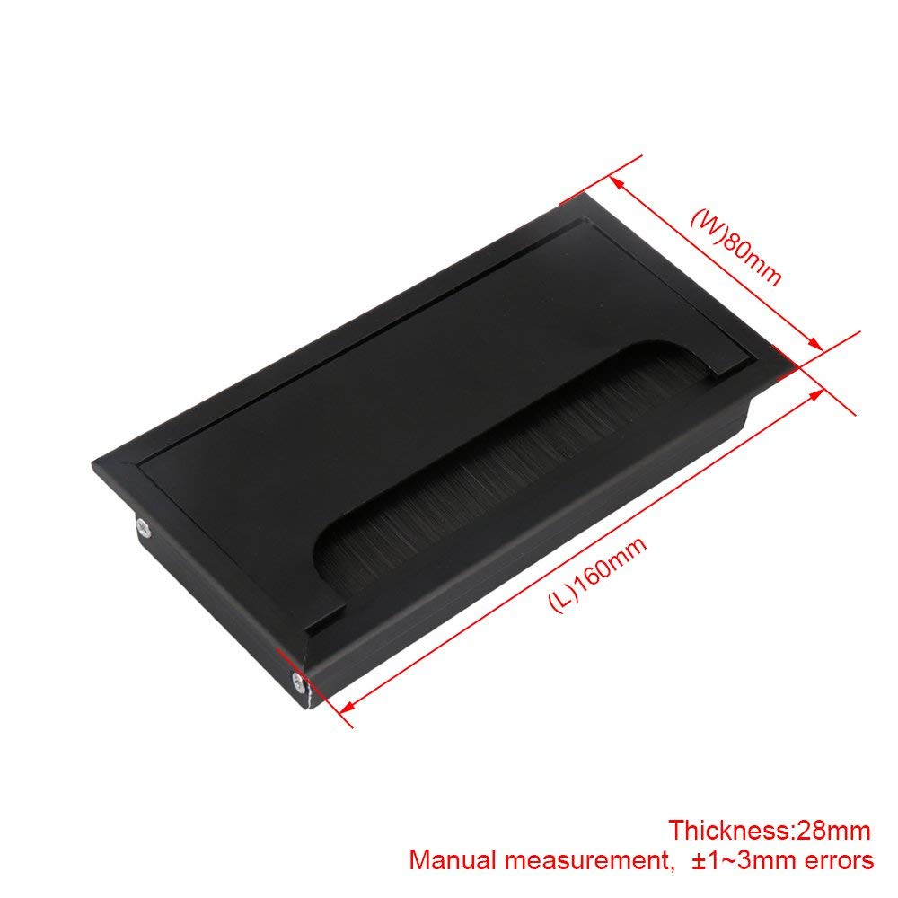 16cm Black Aluminum Alloy Table Desk Rectangle Wire Cable Grommet Hole Cover Outlet Port With Black Brush