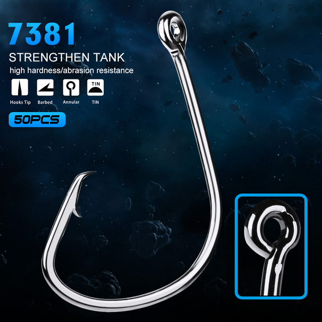 50pc Proberos Brand Fishing Hooks Black Color Octopus/Circle Sport Circle Fish Hook Jig Big 1#-5/0# Size Bass