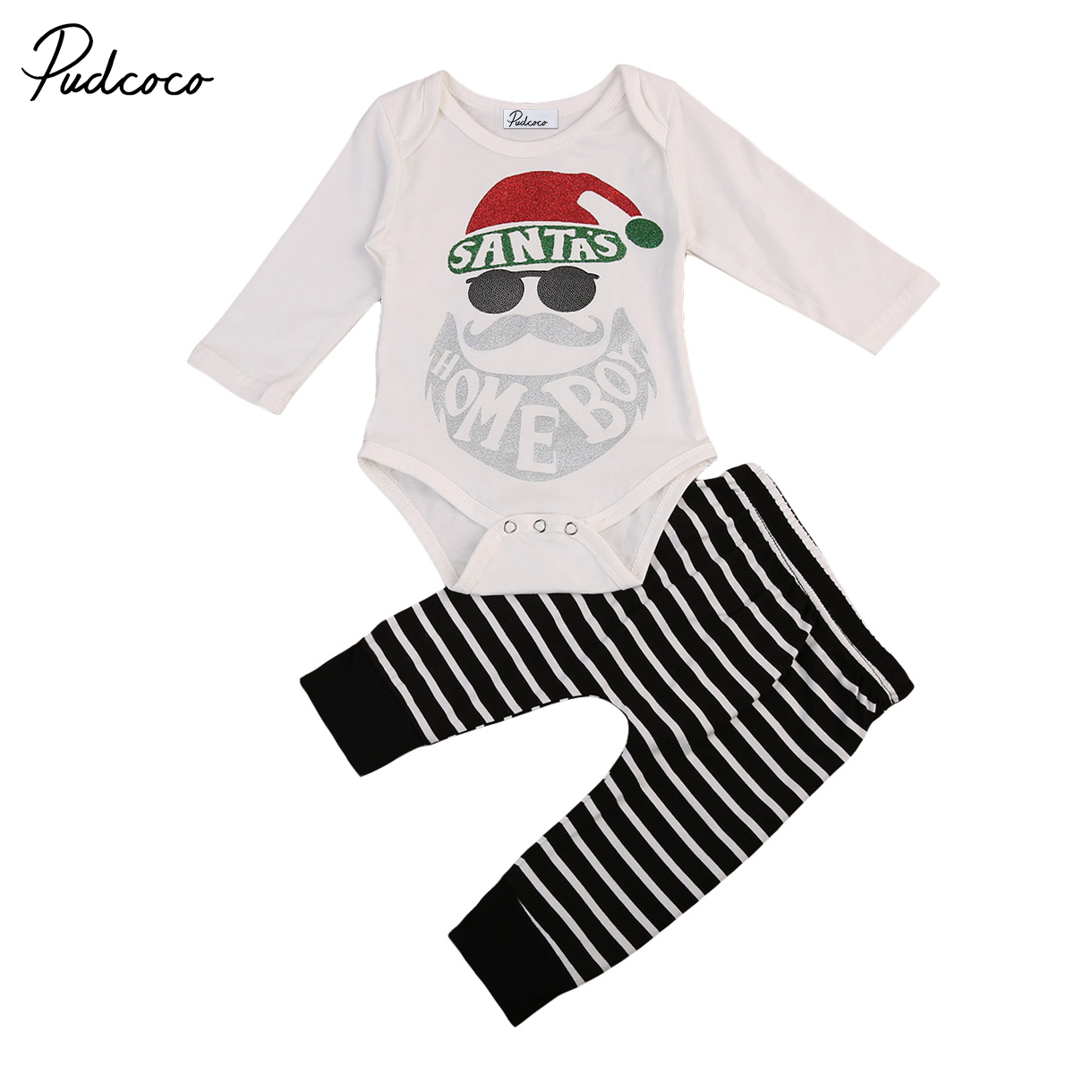 Babies Xmas Clothes Newborn Baby Boys Long Sleeve Santa Bodysuit Tops Striped Pants Outfit Christmas Clothes 2 pcs Clothing Sets girls tops cute pants outfit clothes newborn kids baby girl clothing sets summer off shoulder striped short sleeve 1 6t