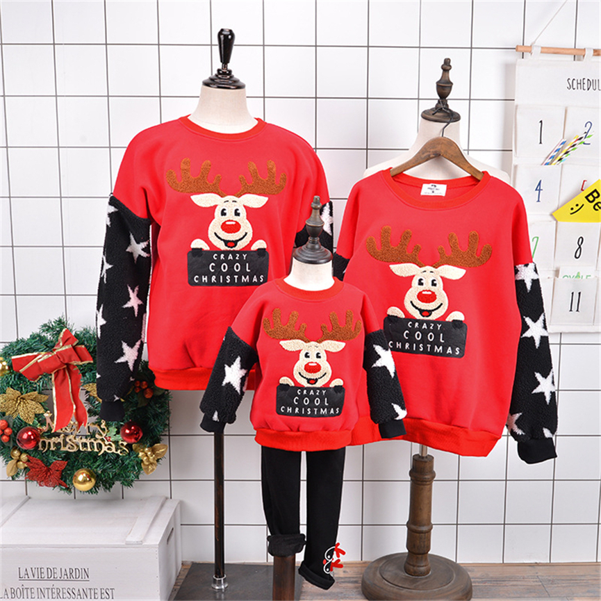 Family Matching Christmas Sweatshirt Mother Daughter Hoodies Red Elk Mom Dad Baby 1-12 Years Xmas New Year Pajamas Outfits