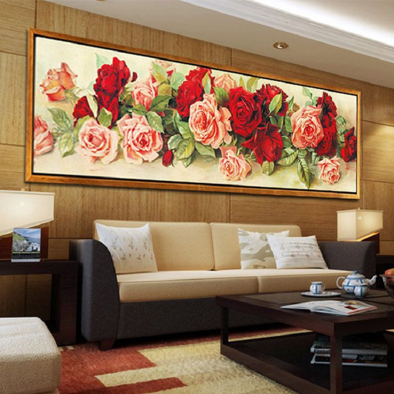 Large size picture rose flower diamond Embroidery diy painting mosaic 3d cross stitch pictures H418