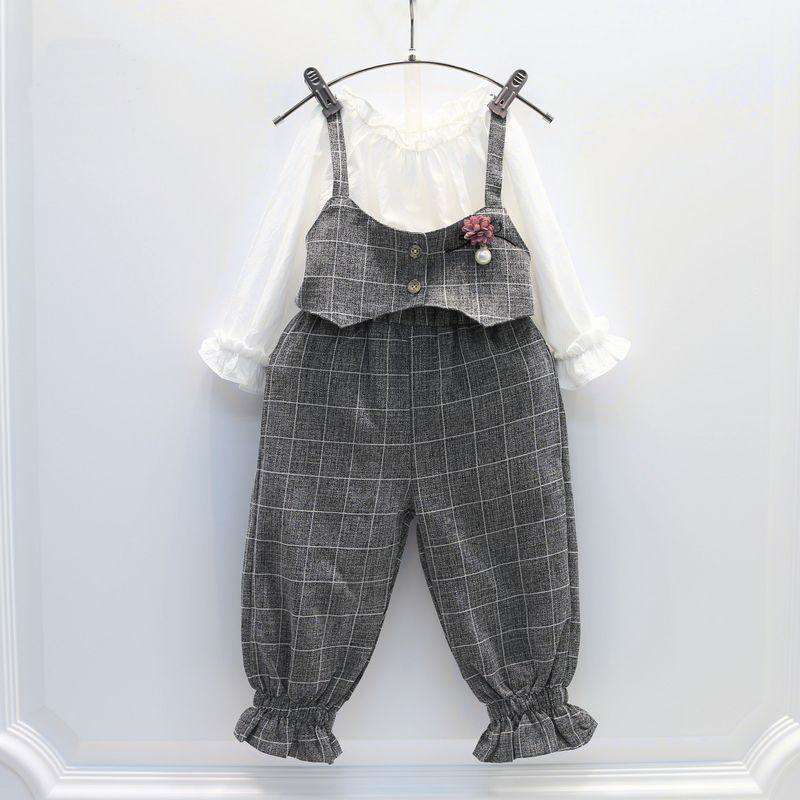 Children's Clothing 2017 Spring Girl Fashion Suit Shirt+suspender Pant Two Pieces Per Set Easy To Repair
