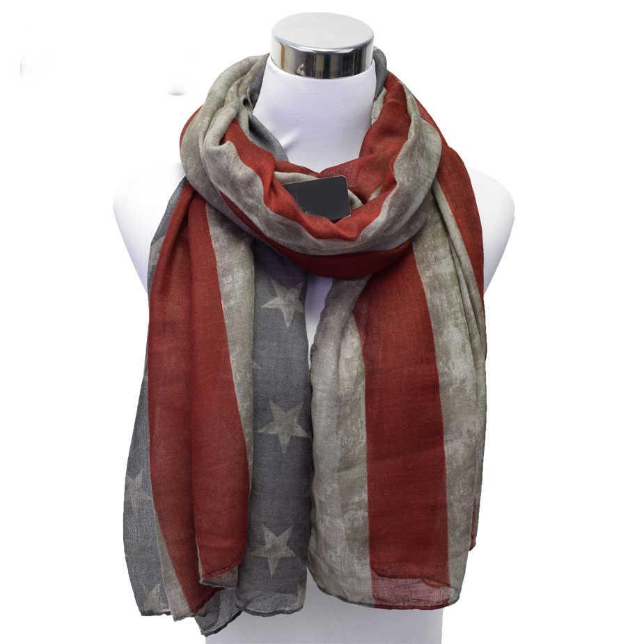 新しいデザイナーの女性ヴィンテージ西スタイルアメリカの国旗スカーフ女性の長い綿ビスコーススカーフラップショールスカーフストールV9A18477