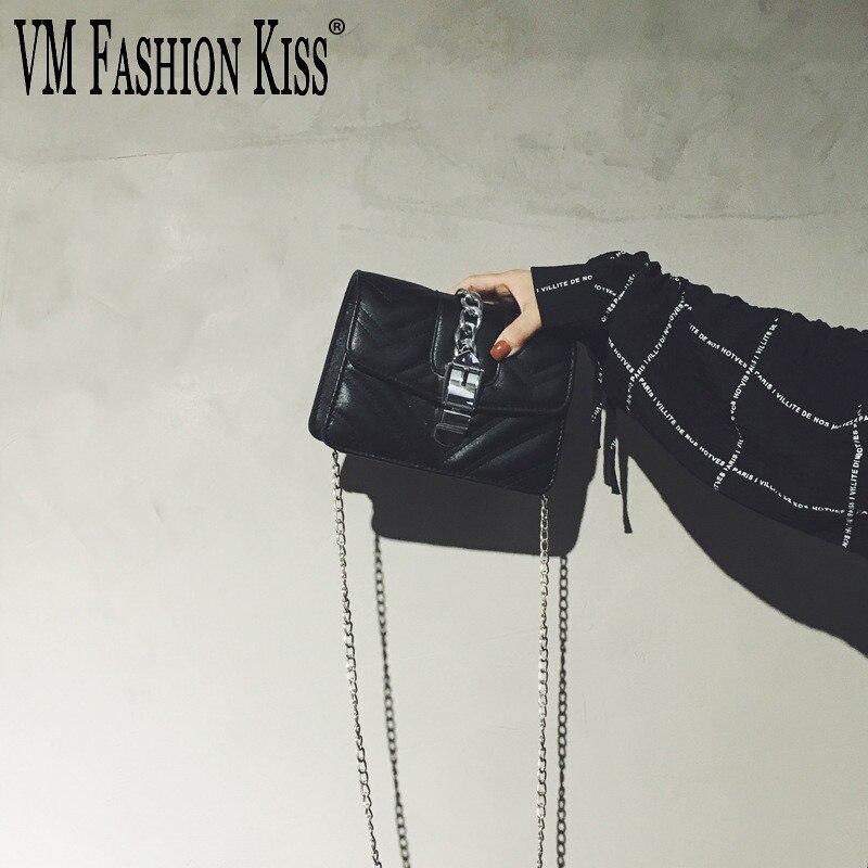 VM FASHION KISS pu LeatherThread Small Bag Woman 2018 sling Chain Messenger Woman Shoulder Bags Flap Crossbody bag Girl bolsa
