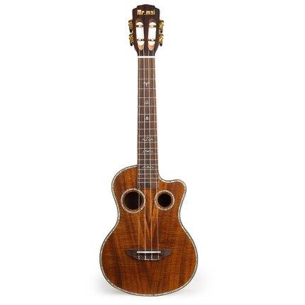 El señor marca mai 26 pulgadas ukelele Acacia madera placa única guitarra Hawaii con bolsa/sintonizador/cinturón/accesorios Capo