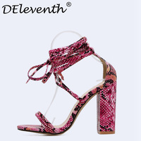 2018 New Fashion Pumps Women Sexy Party Shoes Woman High Heels Snakeskin Ladies Shoes Flock Heels Cross strap Sandals Shoes EUR5