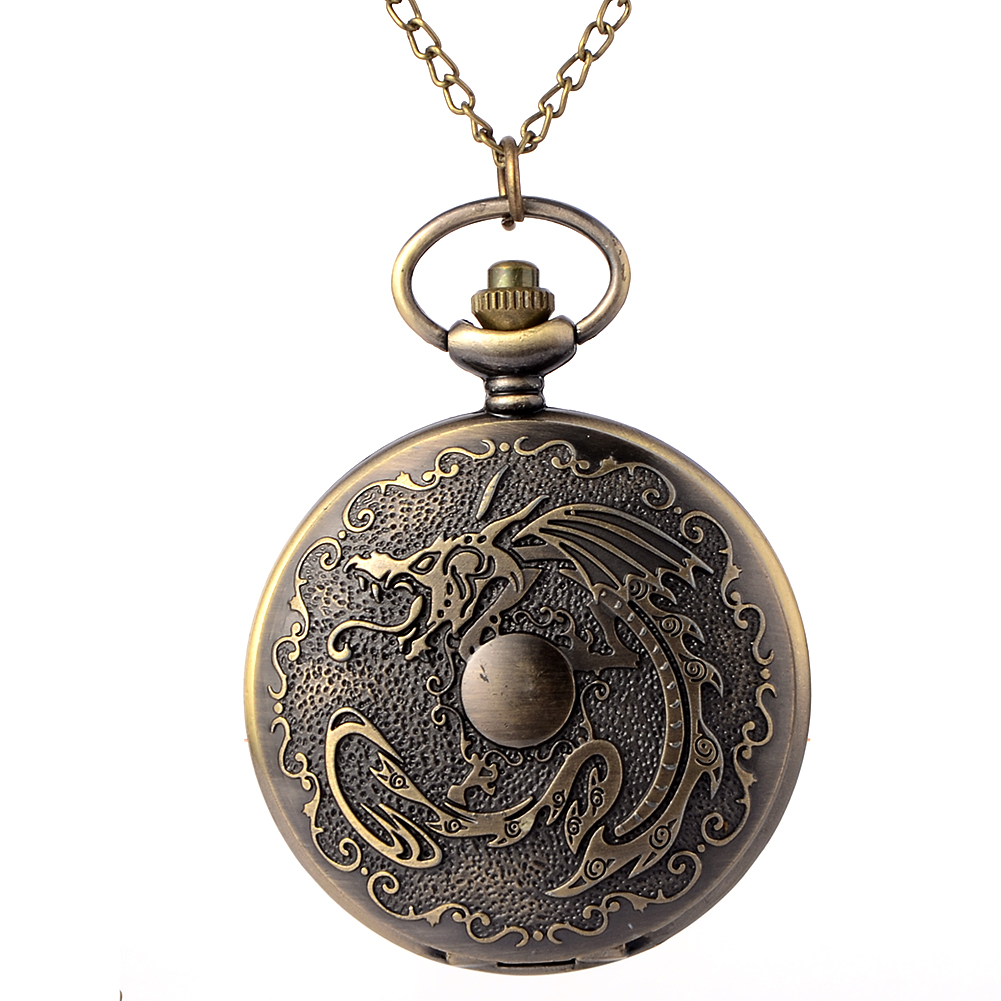 Cindiry vintage Bronze Mechanical Dragon fullmetal alchemist Pocket Watch Chain vintage Steampunk Quartz pocket watches Men antique fullmetal alchemist full metal case bronze pocket watch with chian necklace christmas