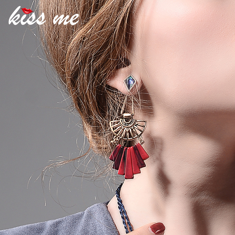 KISS ME Geometric Hollow Out Resin Alloy Vintage Earrings Personalized Long Drop Earrings Women Jewelry Accessories