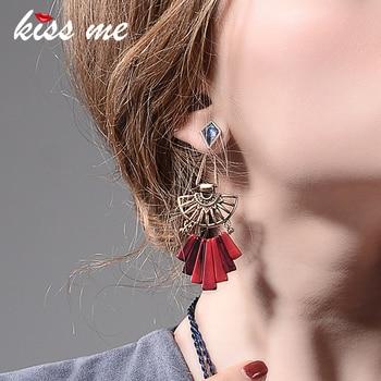 KISS ME Geometric Hollow Out Resin Alloy Vintage Earrings Personalized Long Drop Earrings Women Jewelry Accessories