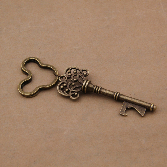Yage 50pcs/lot Classic Creative Wedding Favors Party Gifts Antique Bronze Skeleton Key Beer Bottle Opener with Mickey Ring