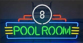 Custom Pool Room 8 Glass Neon Light Sign Beer Bar
