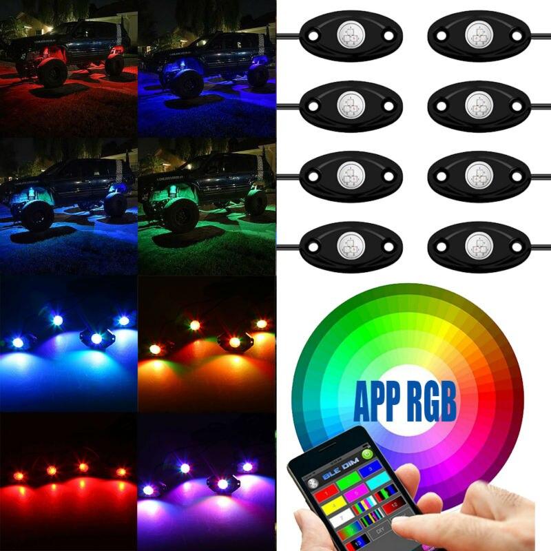 Bluetooth 4/8 Gousses LED RGB Rock Lumières Offroad Mini Rock Sous véhicule LED Feux de Chasse Décorer Lampe pour ATV UTV JEEP Mine bateau