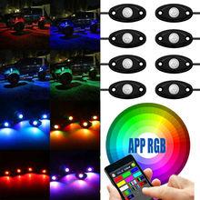 Bluetooth 4/8 Schoten LED RGB Rock Lichter Offroad Mini Rock Unter Fahrzeug LED Flush Lichter Schmücken Lampe für ATV UTV JEEP-Mine Boot