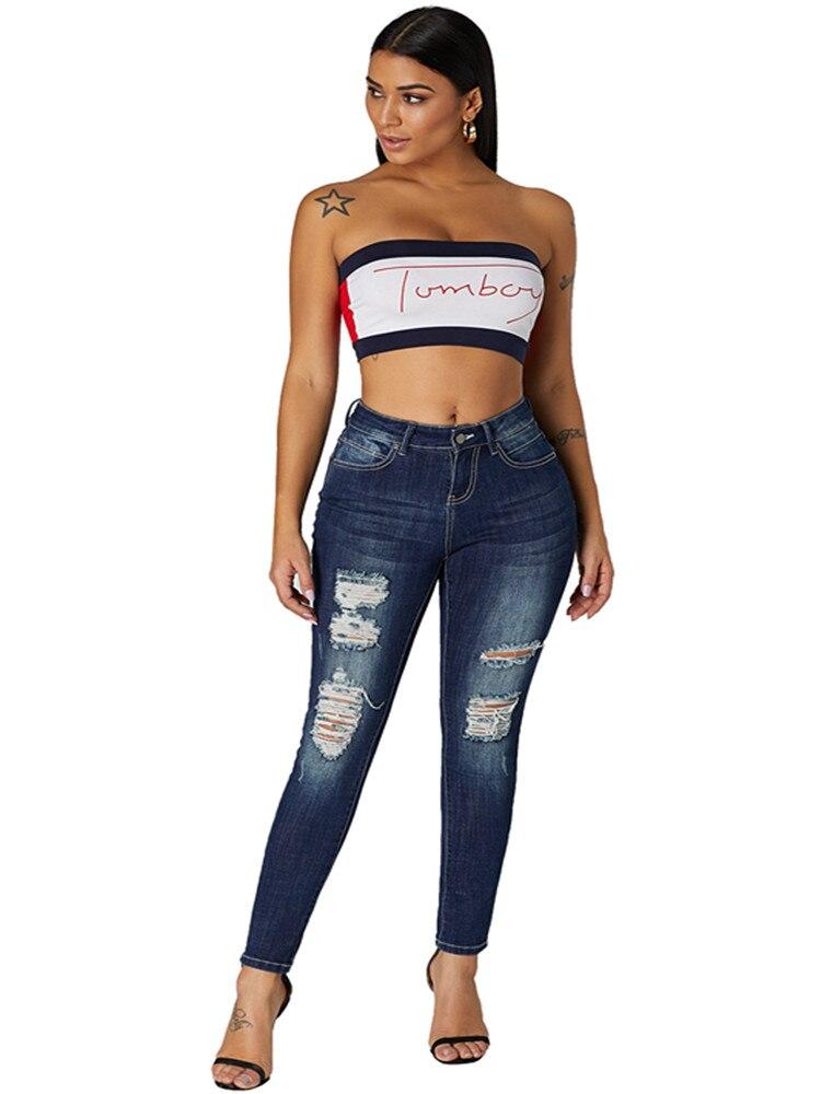 Ropa de mujer Sexy 2019 Jeans casuales mujeres de cintura alta Skinny lápiz azul Denim Pantalones rasgados agujero recortado pantalones vaqueros de algodón de ajuste Delgado