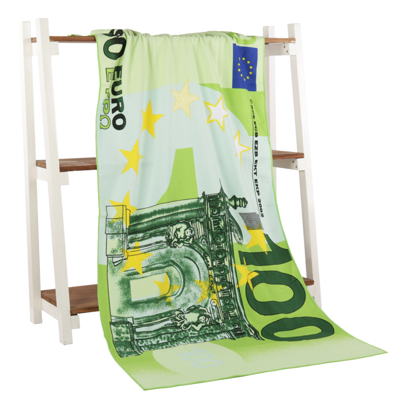 Euro Money Bath Towel Microfiber Printing Activity Beach Towel Hair Super Soft Water 70 140 cm