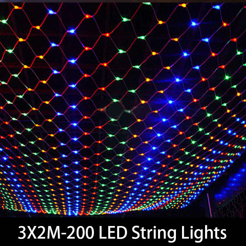 Tail Plug 3*2M 200 LED Wedding Garden New Year Net Mesh Garland LED Christmas Decoration Outdoor Fairy String Light EU US Plug