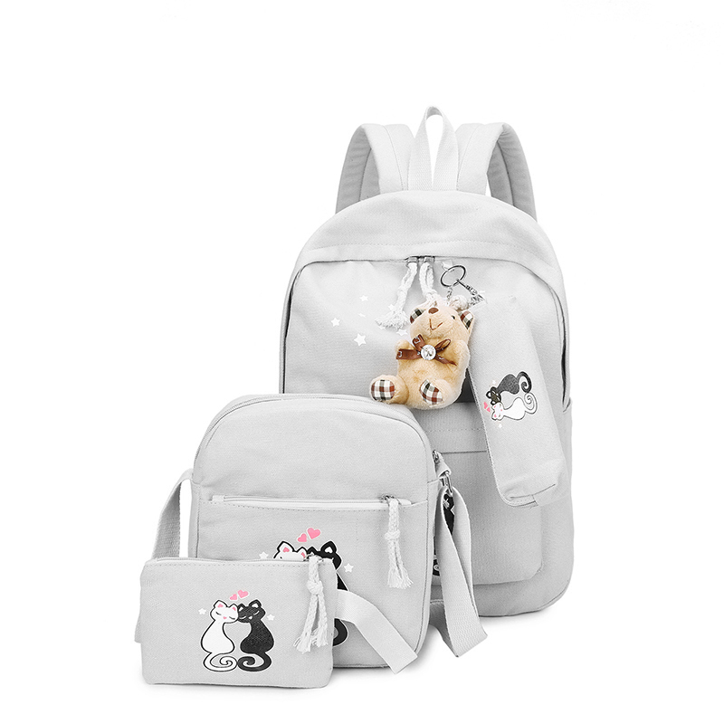 5 Sets Girl Backpacks Woman Canvas School Bags Students Backpack for Teenager Book Bag Mochila Kids Schoolbag HOT SELLING women sequin backpack mochila lentejuelas teenager girl school bags bling bling lady backpacks bolsa feminina sac a main femme