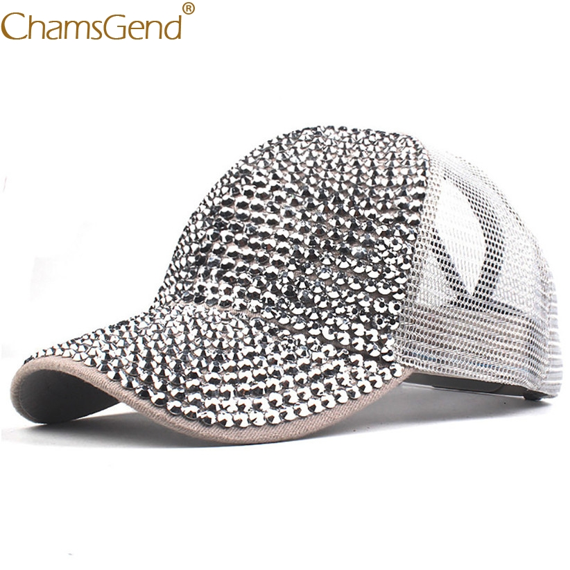 Breathable Mesh   Baseball     Caps   Unisex Bling Bling Diamond Snapback Solid Color Summer Sun Hat Woman Streetwear   Cap   90214