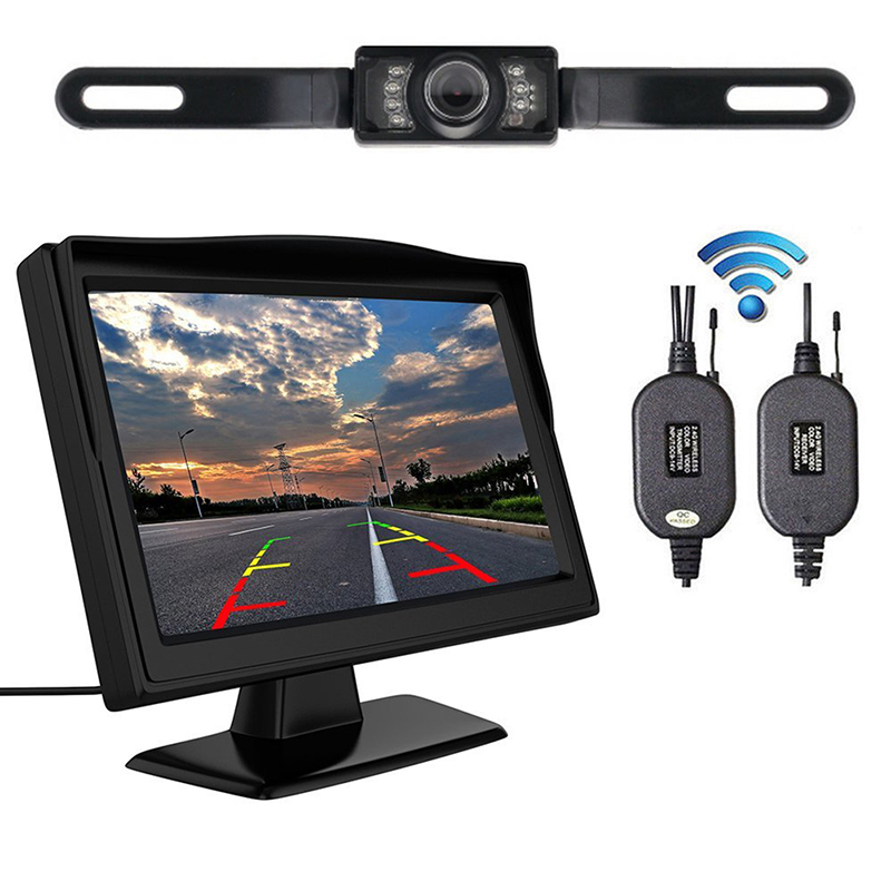 1pc Wireless Dual 4 3 inch Screen Rearview Car Mirror Monitor Waterproof Car Rear View Reverse