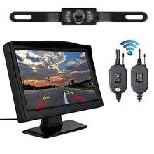 1 pz Wireless Dual 4.3 pollice Dello Schermo Retrovisore Auto Monitor Dello Specchio + Impermeabile di Retrovisione di Inverso di Backup Videocamera per auto