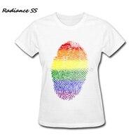 2017 Serin Kadın T-shirt Baskı Gökkuşağı Parmak Izi Tee Renkli Kısa Kollu T-Shirt Womens Tops