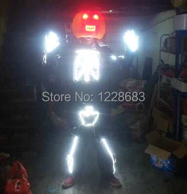 Free Shipping New 2015 Led Skull Fashion Luminous Clothing Led Lights Costumes Clothes Suit Outfit Led Costume For Men