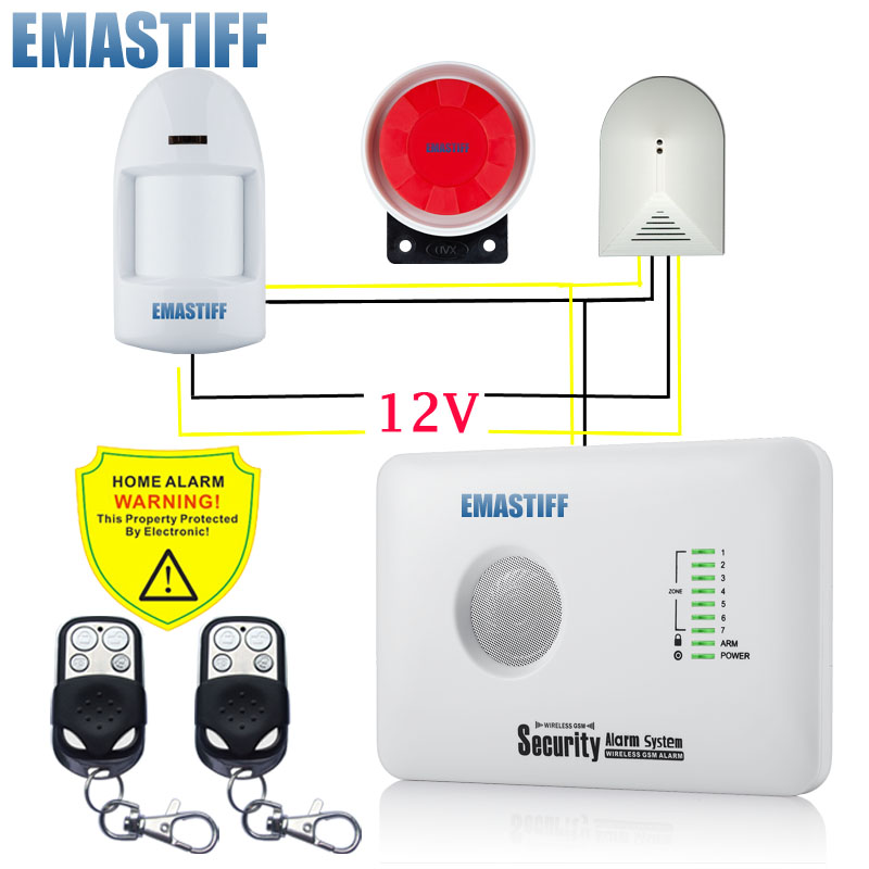 free shipping APP Wired PIR Infrared Detector and wired Glass Break sensor burglar alarm security home GSM SIM alarm system Kit