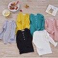Da criança Do Bebê Meninas Meninos de Algodão de Manga Longa Camisetas Crianças Algodão Sólidos Camisetas Crianças Roupas Da Moda Tops para o Infante YA324