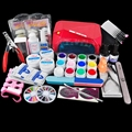 Nail Art Set 12 Colors UV Gel + 36W LED Curing Lamp  Manicure File Nail Art Tools Buffer Remover Fasle Nail Tips