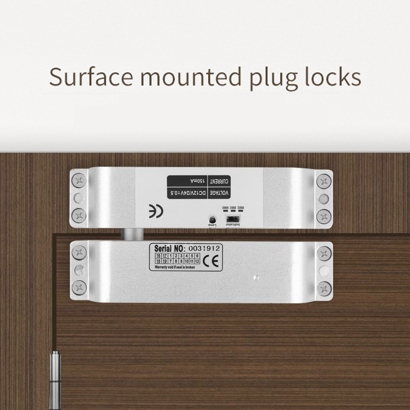 4 Wire Wooden Door Electric Drop Bolt Door Lock DC 12V Magnetic Induction/Surface Mount Shear Lock 2,000lbs Holding Force