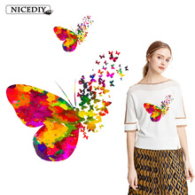 Nicediy Fashion Heat Transfer for Clothing Butterfly Thermal to Cloth Colorful Stickers Heart Decoration Applique Patch