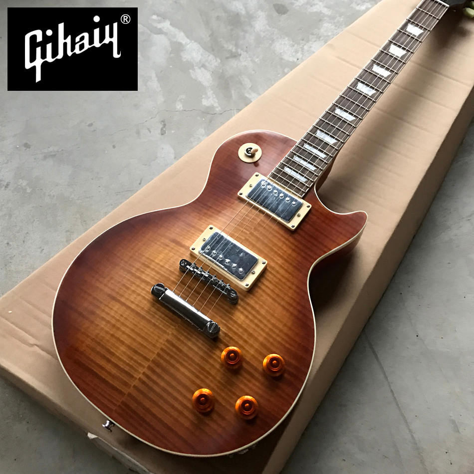 Gisten New standard LP 1959 R9 electric guitar, Matt Tobacco burst maple top electric guitar, Chrome hardware, Free shipping best price g standard les electric guitar lp deluxe paul guitar luxury finish mahogany guitar golden hardware free shipping