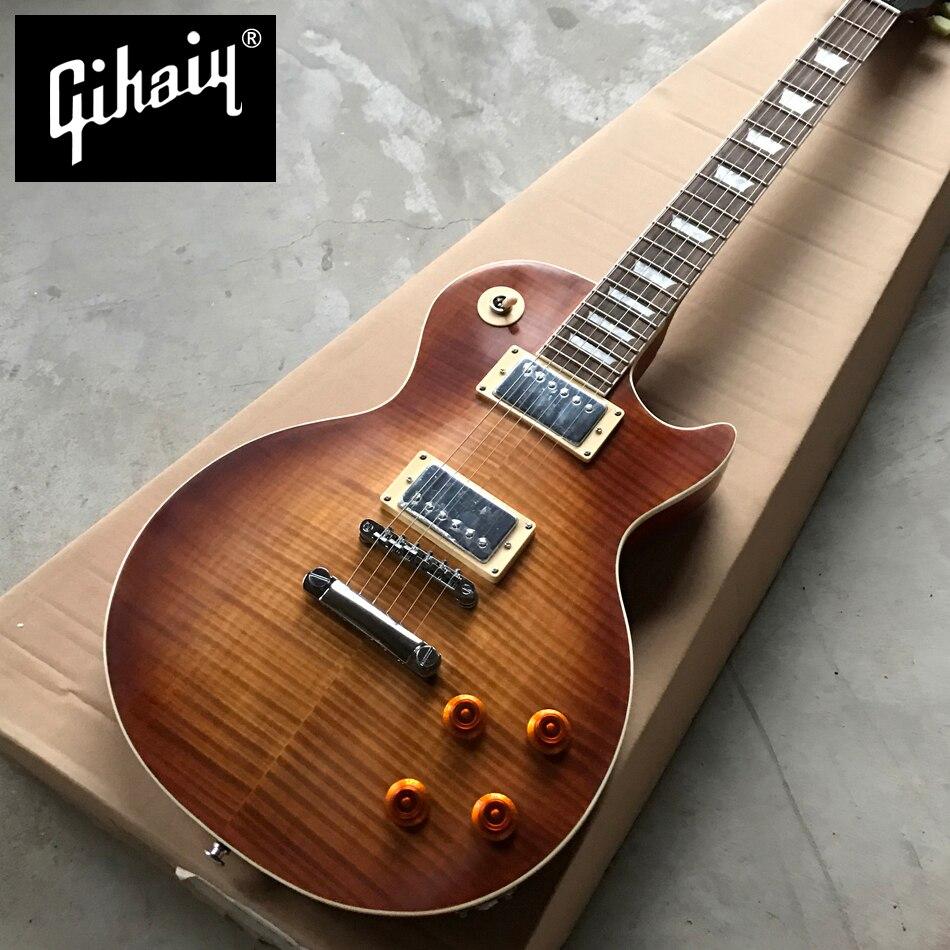 Gisten Nouvelle norme LP 1959 R9 électrique guitare, Mat Tabac burst maple top guitare électrique, Chrome matériel, livraison gratuite