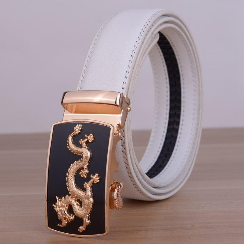 Брендовые высококачественные мужские ремни с автоматической пряжкой Bentley, мужские деловые повседневные пояса из натуральной кожи, роскошный белый ремень для мужчин - Цвет: gold dragon