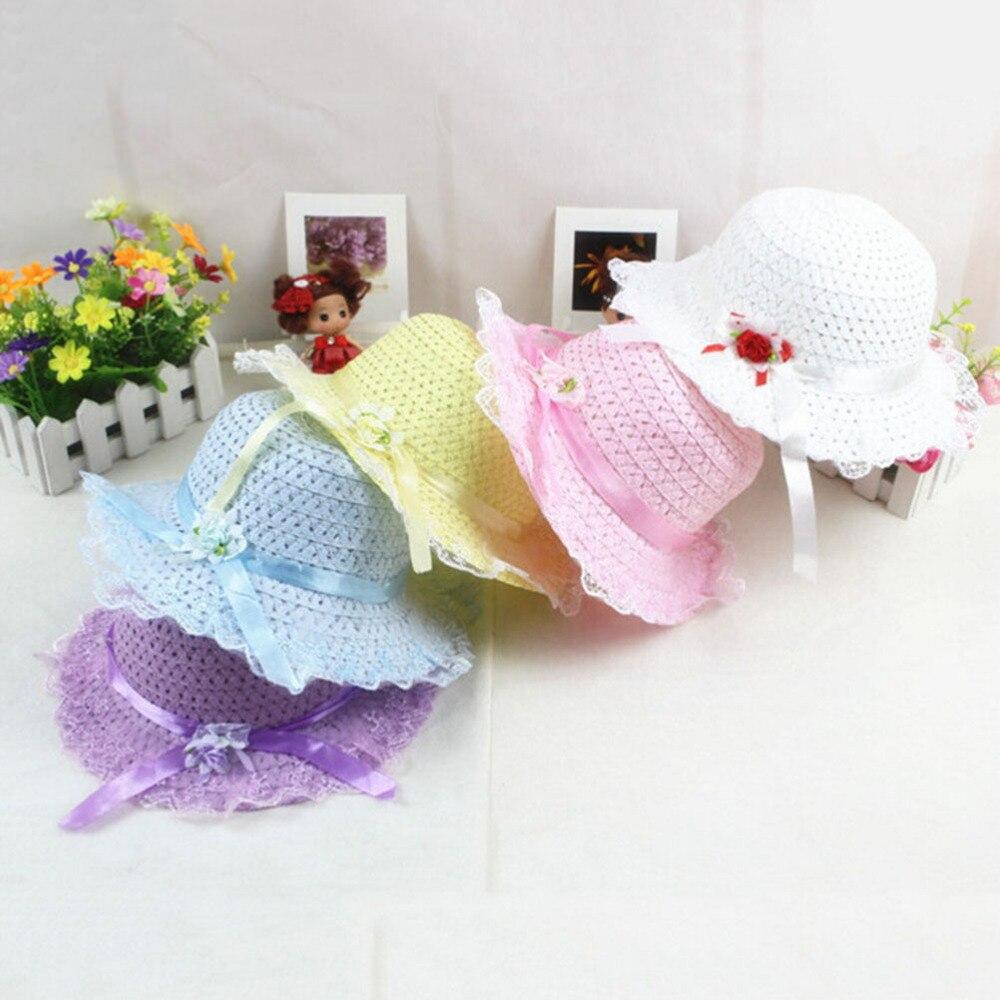 2018 Fashion 1pc Flower Kids Sun Straw Hat Children Summer Hat Sunbonnet Cap Baby Hat Big Brim Girl Flower Caps
