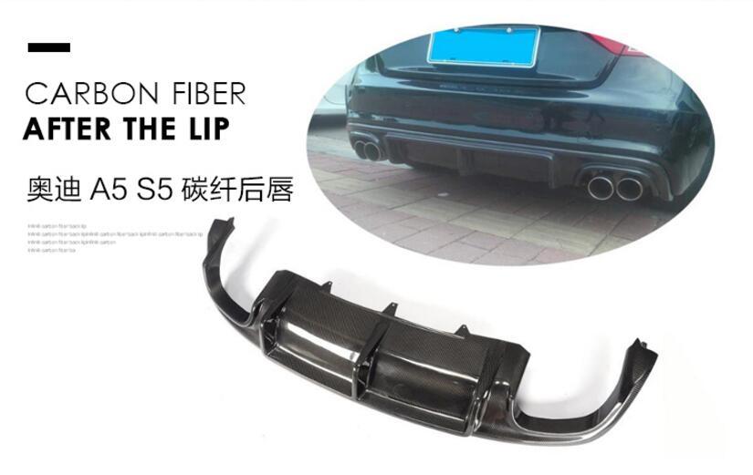 Углеродного волокна заднего бампера спойлер Диффузор Крышка для Audi A5 S5 2 двери/4 двери 2012 2013 2014 2015 2016 EMS
