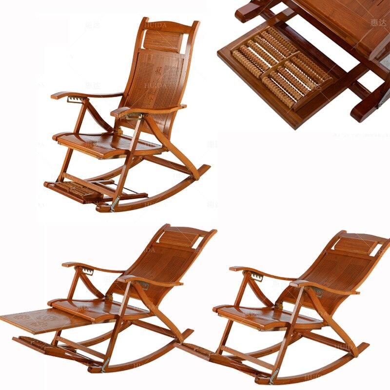 XL013Foldadble Bambus Schaukel Stuhl Liege Rest Lounge Deck Stuhl Bambus  Möbel Liege Rocker Mit Fuß Massager