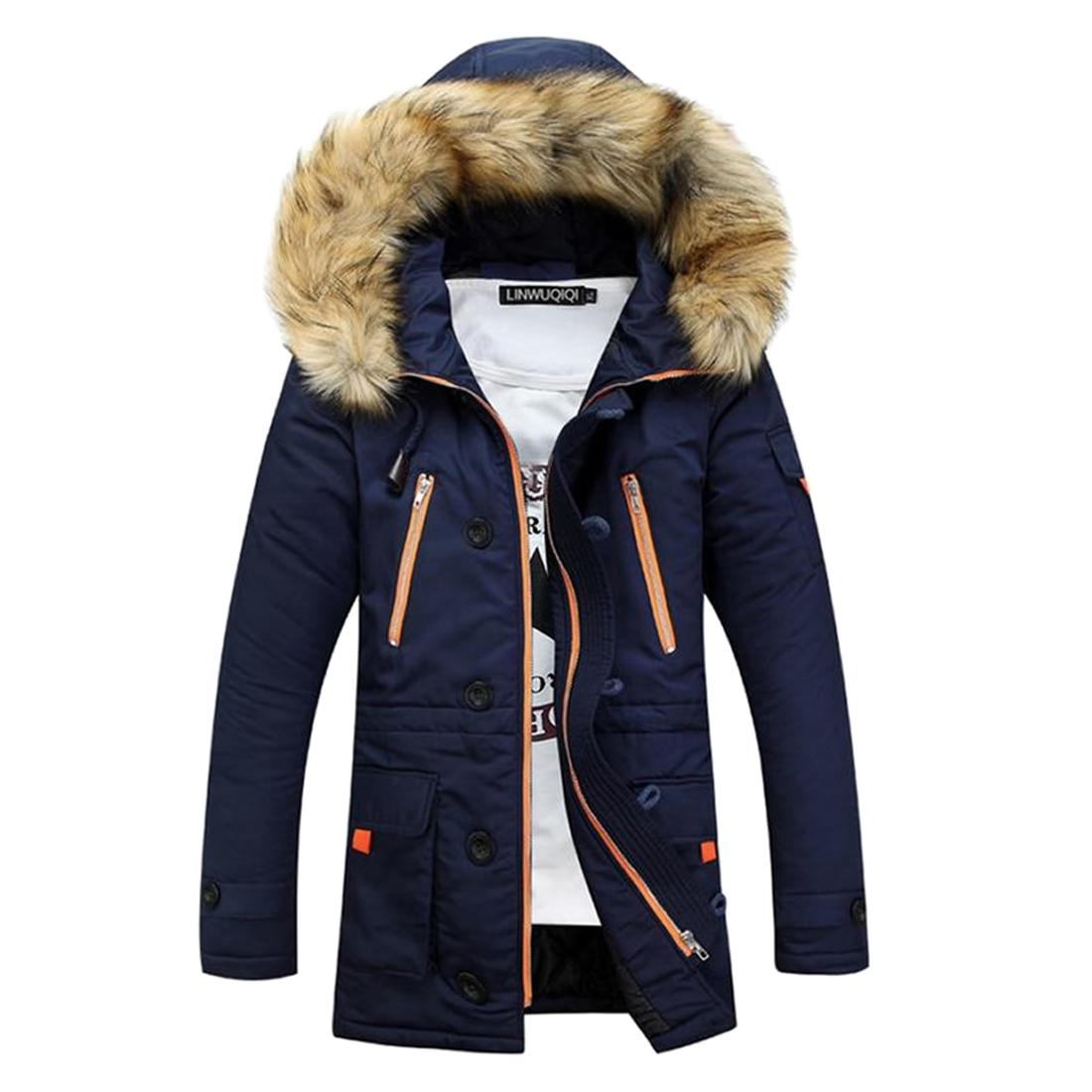 Parka   Men Coats Winter Jacket Men Plus Size Thicken Fur Hooded Outwear Warm Coat Top Blue Casual Mens Coat Veste Homme Tops 3xl