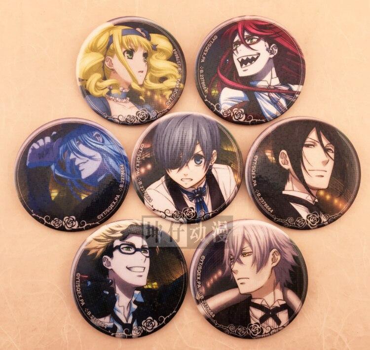 Ciel Phantomhive Sebastian Grell Undertaker Anime Black Butler Kawaii Badge