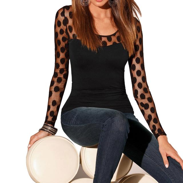 Women Chiffon Shirt Fashion Sexy Tops Shirt Lace T shirt