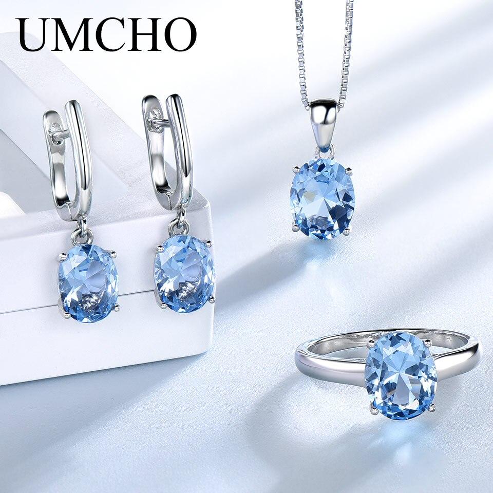 Ensembles de bijoux de mariage en topaze bleu ciel UMCHO pour femmes 925 bagues de fiançailles en argent Sterling collier pendentif Clip boucles d'oreilles - 2